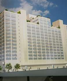 An artist's rendition of Building 77, part of