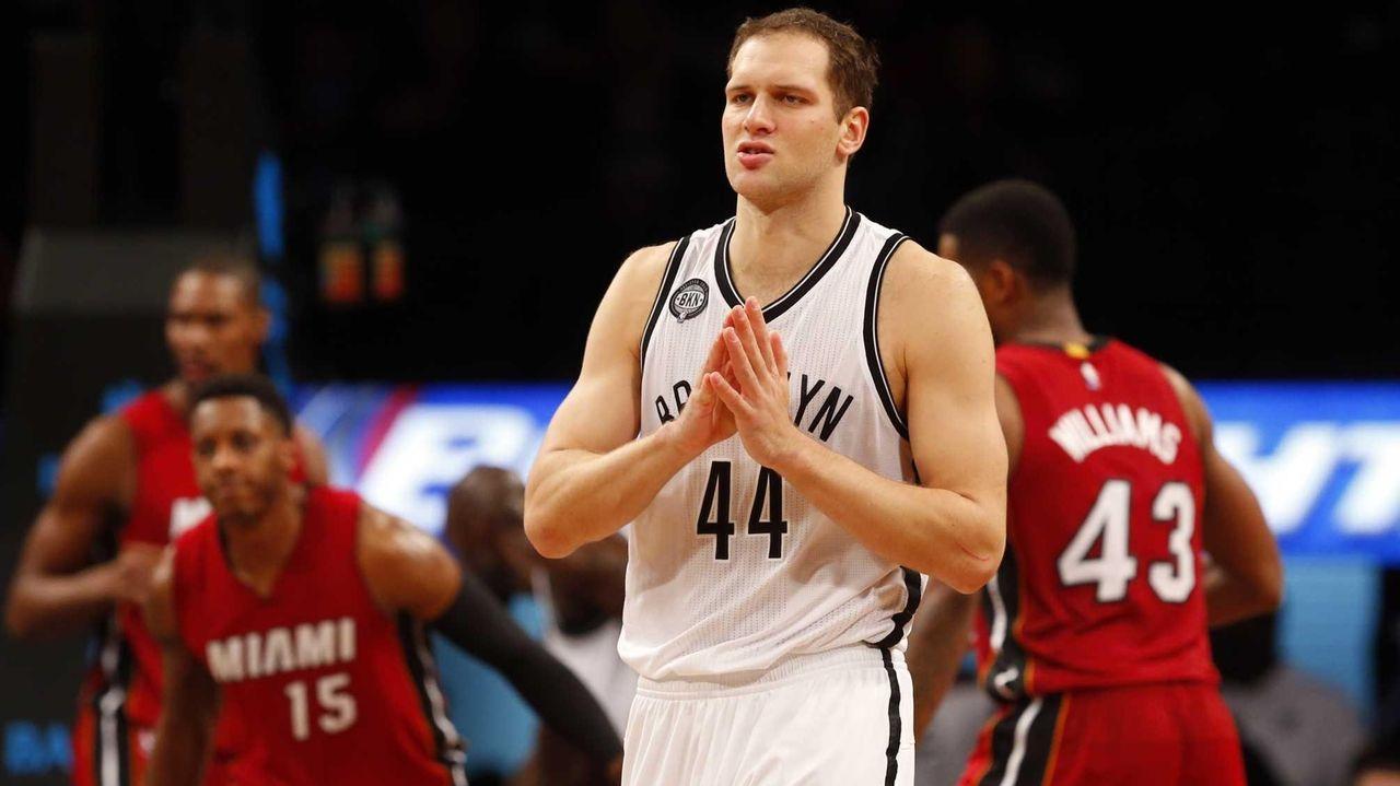 Bojan Bogdanovic #44 of the Brooklyn Nets looks