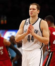 Bojan Bogdanovic #44 of the Brooklyn Nets looks