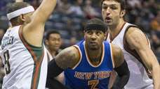 The New York Knicks' Carmelo Anthony looks for