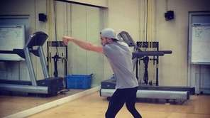 Chris Algieri Shadow boxing before training session Wednesday