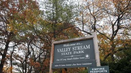 The Valley Stream State Park sign on Thursday,