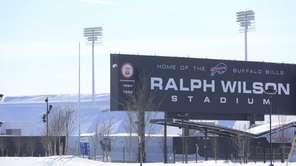 Snow covers the area around Ralph Wilson Stadium,