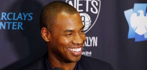 Jason Collins of the Brooklyn Nets speaks to