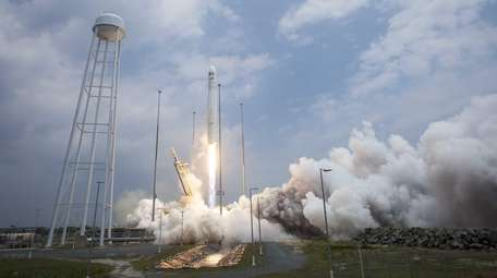The Orbital Sciences Corporation Antares rocket launching from