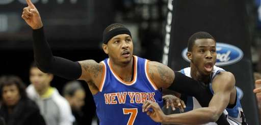 New York Knicks' Carmelo Anthony points for a