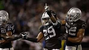 Brandian Ross of the Oakland Raiders celebrates with