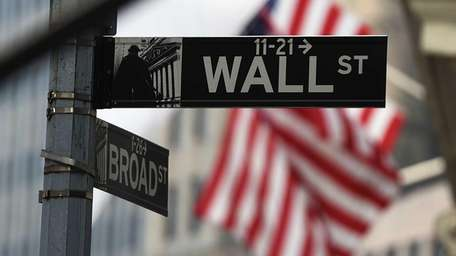 A Wall Street sign near the New York