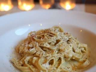 Fettuccine carbonara stands out at Grotta di Fuoco