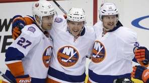 New York Islanders' Ryan Strome celebrates his goal