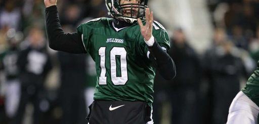 Lindenhurst quarterback Ryan Hofmann drops back to pass