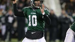 Lindenhurst quarterback Ryan Hofmann drops back to pass