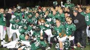 Lindenhurst celebrates its Suffolk III championship against Patchogue-Medford
