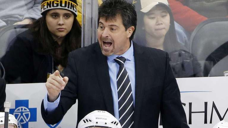 New York Islanders head coach Jack Capuano gives