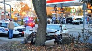 A one-car crash in West Hempstead on Hempstead