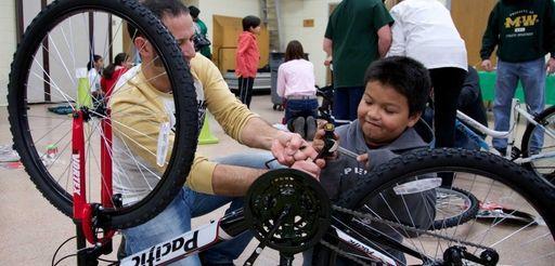 Henri Sorto Guevera, 10, and his mentor Anthony