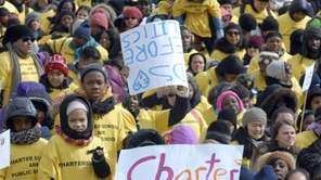 Thousands rally in support of charter schools outside