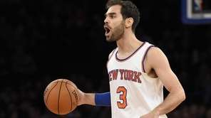 New York Knicks guard Jose Calderon shouts directions