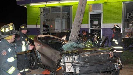 A car struck a utility pole along Sunrise