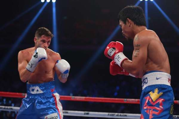 WBO welterweight champion Manny Pacquiao, right, of the