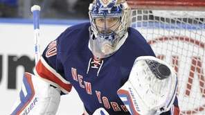 New York Rangers goalie Henrik Lundqvist warms up