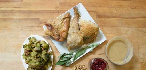 Thanksgiving leftovers -- Brussels sprouts, turkey, sage, gravy,