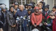 Charles Barron speaks during a news conference with