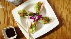 Vietnamese shrimp summer rolls with hoisin dipping sauce