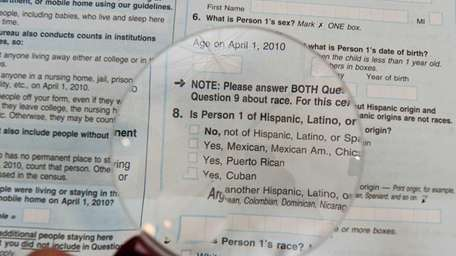 The official U.S. Census form, pictured on March