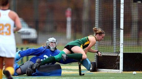 Adelphi goalie Kelly Serrao and LIU Post forward