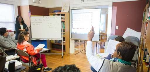 A class takes place at Literacy Nassau in