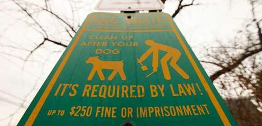 A sign informs pet owners to clean up