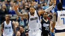 Tyson Chandler #6 of the Dallas Mavericks reacts