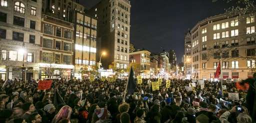Protesters gather in Lower Manhattan on Tuesday, Nov.