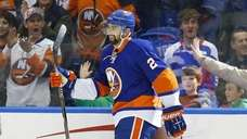 Nick Leddy of the New York Islanders celebrates