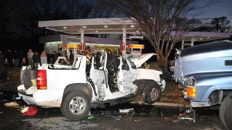 An SUV and a cesspool truck collided in