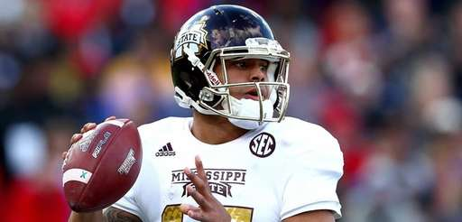 Dak Prescott of the Mississippi State Bulldogs looks