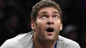 Brooklyn Nets center Brook Lopez looks on against