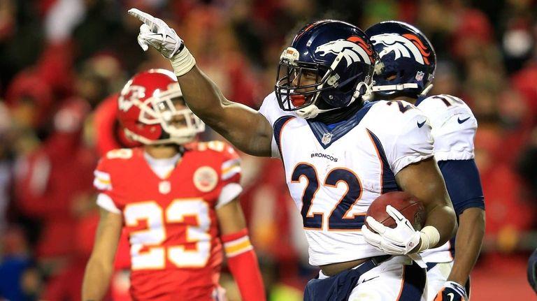 C.J. Anderson #22 of the Denver Broncos celebrates
