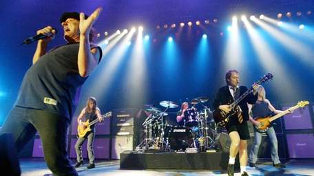 British rock band AC/DC, from left, Brian Johnson,