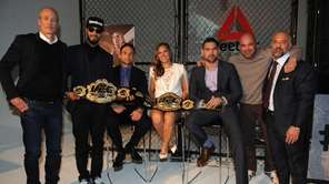 From left, Matt O'Toole, Swizz Beatz, Frankie Edgar,