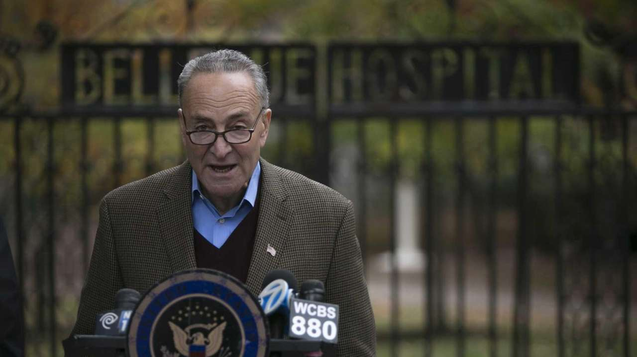 U.S. Senator Charles Schumer holds a press conference