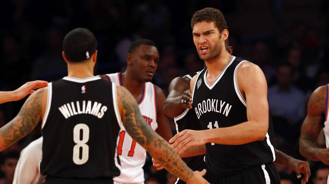 Brook Lopez of the Brooklyn Nets reacts after