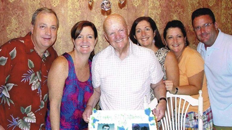 Tom Bonner, center, celebrates his 80th birthday three