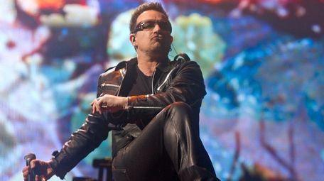 Bono performs at Glastonbury Music Festival in Glastonbury,