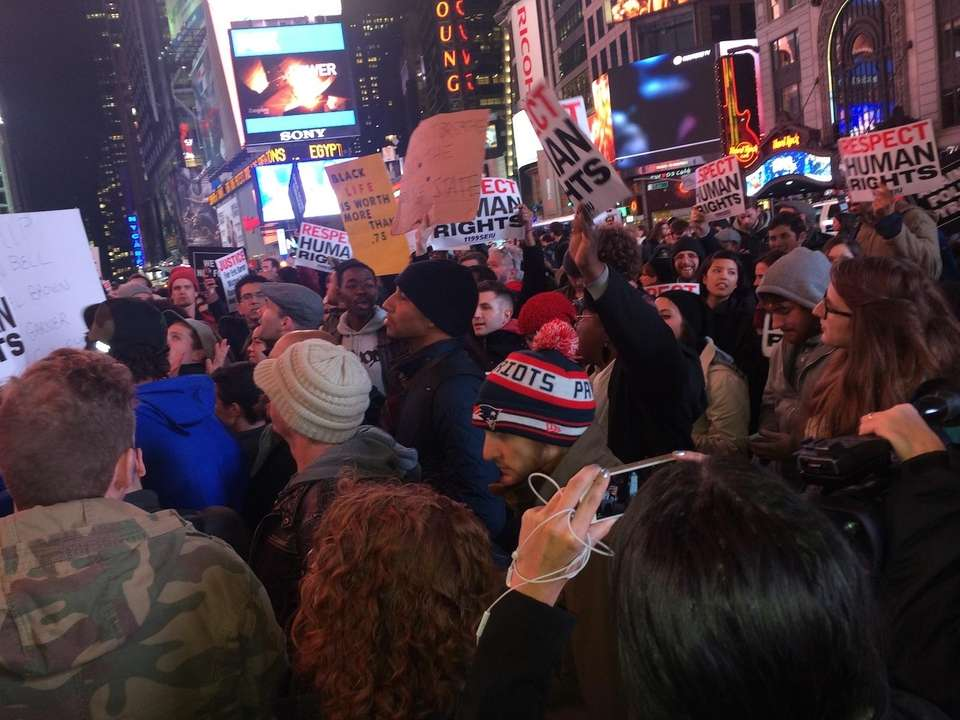 Hundreds marched from Grand Central Terminal to Times