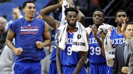 Philadelphia 76ers center Drew Gordon, left, forward JaKarr