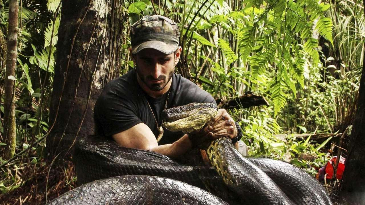 Paul Rosolie with anaconda in Discovery Channel's
