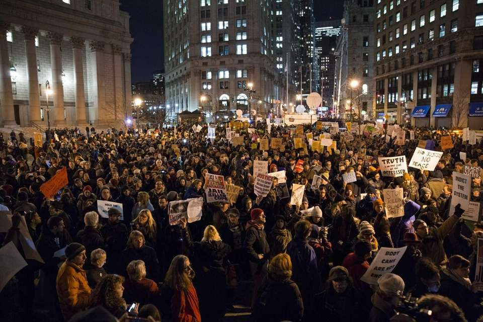 Protesters gather in Manhattan on Thursday, Dec. 4,