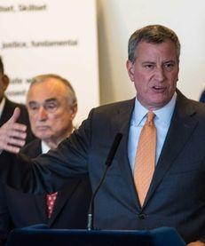 Mayor Bill de Blasio, at a press conference